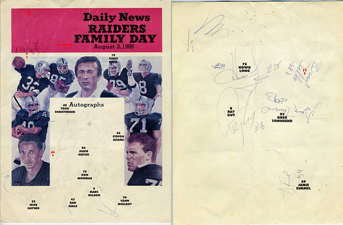 1986 Raiders Family Day Autographs with notes