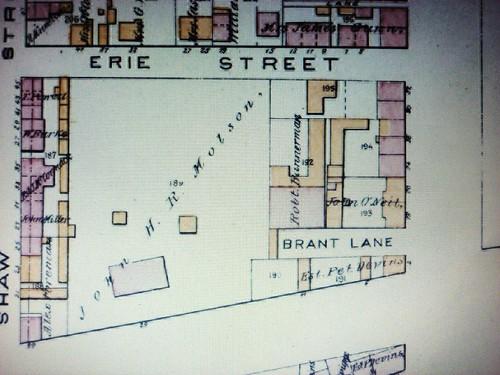 Montréal 1881. Secteur des rues Érié, Craig et ave. Colborne.