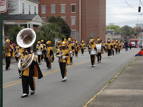 Macon school band in Cherry Blossom Parade. What a big tuba to carry as well as play.
