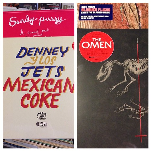 Round dos of New Release Tuesday: must-haves from Sandy Pussy, Avey Tare's Slasher Flicks (Animal Collective connection here kids!), The Omen soundtrack reissue from Mondo & Denney Y Los Jets! What are you picking up today? #denneyandthejets #theomen #mon