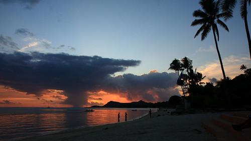 Bora Bora. Matira Beach. Sunset.