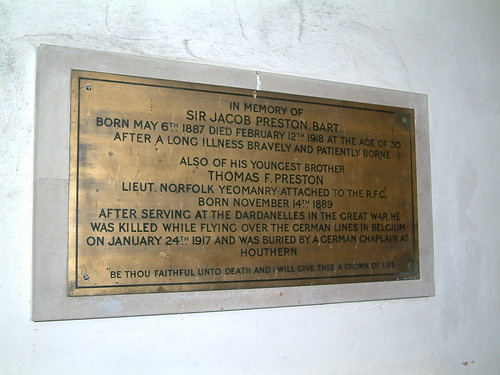Sir Jacob Preston and his younger brother Thomas - killed while flying over the German Lines 1917