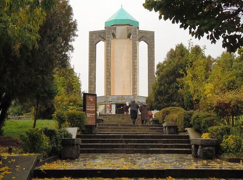 Autumn colors at Iran mystic and poet Baba Taher mausoleum - Hamedan