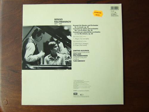 Backside Rachmaninov - Piano Concerto No.3 op.30 - Dimitris Sgouros Piano, Berliner Phil., Yuri Simonov, EMI Teldec 1C 067, 27 0020 1, 1984