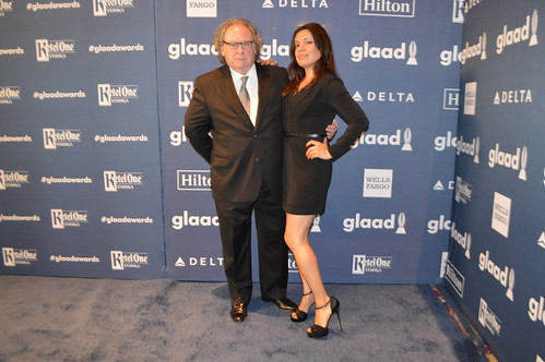 Kendall Kay, Samara Riviera on the red carpet at the press step and repeat wallpaper for the GLAAD Media Awards at the Waldorf Astoria Hotel in New York City