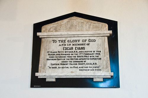 Memorial to Edgar Evans, Church of St Mary the Virgin, Rhossili, Gower Peninsula, Wales
