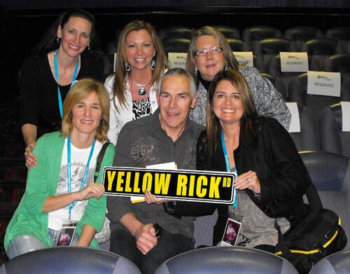 Fiilmmakers Sylvia Caminer & Melanie Lentz-Janney posing with the Yellow Rick Road sign along with Melanie Knupp, Tammy Blecha , Beeb & Donna Brucks Birtles