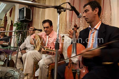 Algeria. Constantine. Salim Fergani and his Orchestra, famous musician of Malouf music during a wedding party  Constantine  Algeria   / Algerie, Constantine.  Salim fergani et son orchestre, vedette de la musique Maalouf, arabo andalouse. pendant un marri