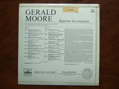 Backside Gerald Moore Piano - Supreme Accompanist, HMV EMI mono HQM 1072, 1972,