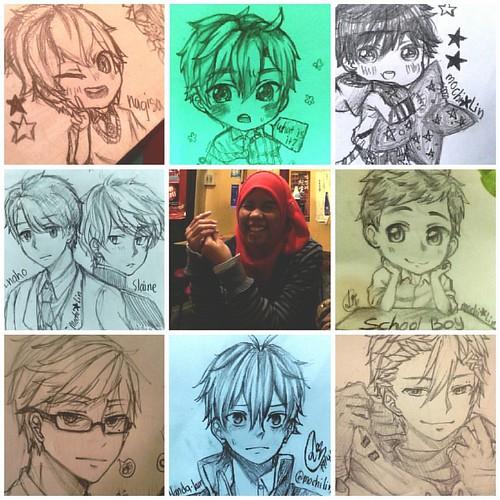 6th #artvsartist = 7 = ) already on page >>> Mochi Lin my best fav male  pencil artworks _(:3j just random fanart of Nagisa(Free!!!) Inaho&Slaine (Aldnoah.Zero) and Handa(Handa-kun) Also, my OC Yukio and Ryoichi, Hakushi, random guys //wink wink I get gid