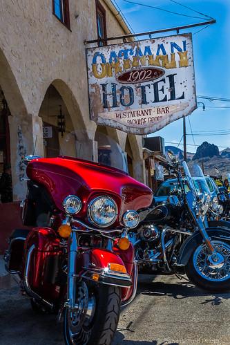 Harleys and Hotel, Old Rt-66, Oatman AZ