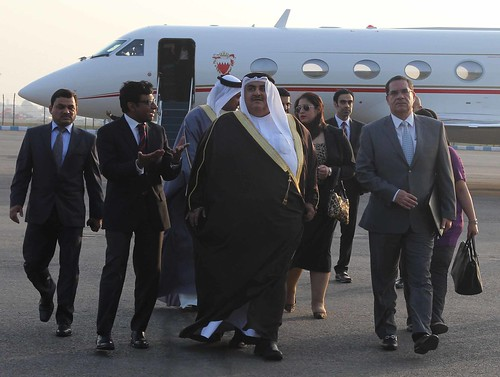 Minister of Foreign Affairs of the Kingdom of Bahrain Shaikh Khalid Bin Ahmed Bin Mohamed Al Khalifa arrives in New Delhi on his Official visit to India (February 21, 2015)