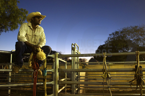 Local cowboy having a rest, backstage at the Broome Rodeo, Western Australia 2013 ©Ingetje TadrosDSC02199