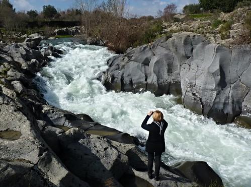 Francavilla di Sicilia - La piena alle gurne del fiume Alcantara