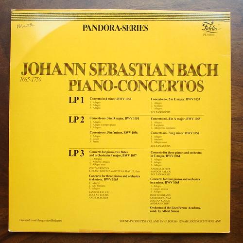 Backside Bach - Piano Concertos for 1,3 & 4 Pianos BWV 1052 - 1058, 1063-1065 Zoltan Kocsis, Sandor Falvai, Andras Schiff, Imre Rohman Piano, Liszt Ferenc Academy Orch., Albert Simon, Hungaroton Fidelio PL 5569/71, 3Lp
