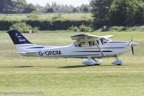 G-ORDM - 2003 build Cessna 182T Skylane, arriving at Old Warden during the 2015 Chipmunk First-Flight Anniversary Gathering