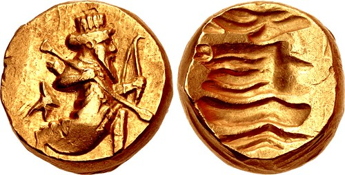 A Rare and Exceptional Persian (Alexandrine) Gold Double Daric Struck During Satrapys of Stamenes to Seleukos