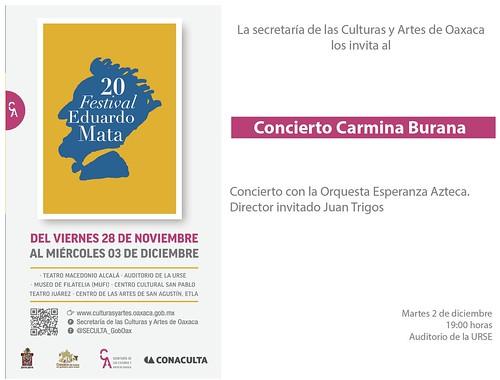 """Gobierno de Oaxaca, """"Carmina Burana"""" de Carl Orff se presentará en el 20 Festival Eduardo Mata - SECULTA"""