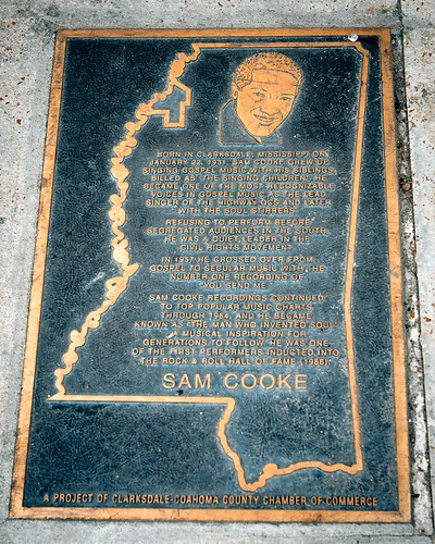 Sam Cooke Walk of Fame marker, New Roxy Theater, 363 Issaquena Ave, Clarksdale, MS, USA