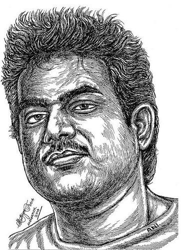 YUVAN SHANKAR RAJA Music Director Portrait in my Pen drawing by  Artist Anikartick,Chennai,Tamil Nadu,India
