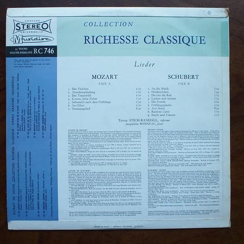 Backside Schubert & Mozart - Lieder - Teresa Stich-Randall Soprano, Jacqueline Bonneau Piano, Musidisc RC 746