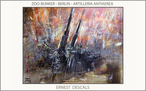 BERLIN-PINTURA-BUNKER-ZOO-TIERGARTEN-FLAKTURM-ALEMANIA-ARTE-SEGUNDA GUERRA MUNDIAL-PINTURAS-ARTILLERIA-ANTIAEREA-PINTOR-ERNEST DESCALS