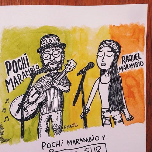 Los legendarios Pochi y Raquel Marambio estuvieron cantando en #LaEmolienteria el domingo, he aquí un homenaje en caricatura al puro