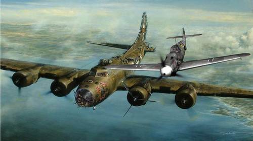 Charlie Brown and Franz Stigler incident (Painting by John D Shaw)