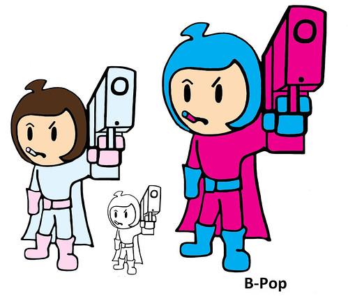 Pink & Blue Super Pop B-Pop Poster Image Super Pee Wee Kids Superhero Comic Cartoon Bad Girl Costume Toy Outfit Costume Gloves Emblem Hero Logo Boots Suit Cape Halloween Dress Up Cosplay Kawaii Chibi Anime Japanimation