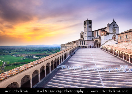 Italy - Umbria Region - Assisi - Historical town and birthplace of St. Francis - UNESCO World Heritage Site - Mother church of Roman Catholic Order of Friars Minor - Franciscan Order at Sunset