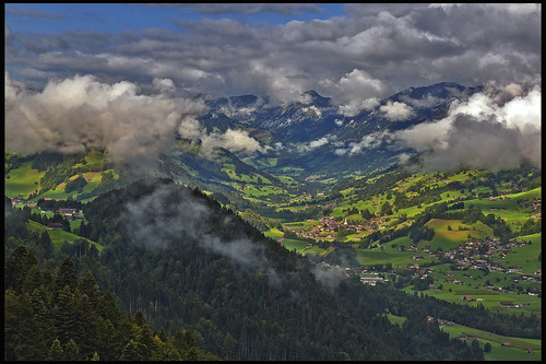 Switzerland, the Simmental , taken on the way to   Niesen summit from Wimmis. ( Canton of Bern ). All'alba vincerò! No. 8776.
