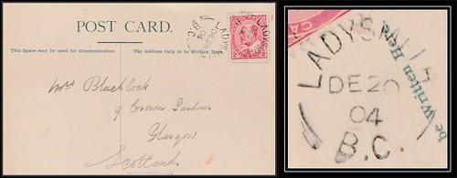 British Columbia / B.C. Postal History - 20 December 1904 - LADYSMITH, B.C. (split ring / broken circle cancel / postmark) to Glasgow, Scotland