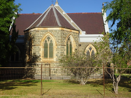 Young . The first Anglican Church was built on this spot in 1865. This Gothic masterpiece was designed by Edmund Blacket a famed NSW architect. Built in 1893.