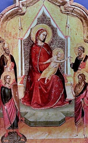 IMG_3500B Bernardo Daddi. 1290-1348. Florence.  Madone et quatre saints.  Madonna and four saints. Nantes Musée d'Arts.   Diptyque portatif de dévotion privée.    Portable diptych of private devotion.