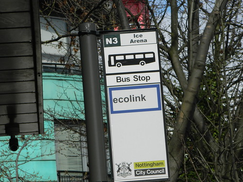 nottingham city centre N coded bus stop N3 ice arena