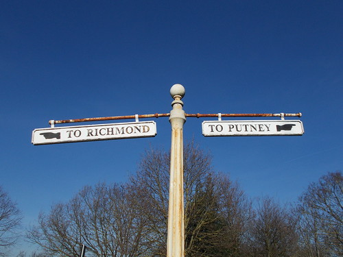 Victorian direction sign on Putney Common