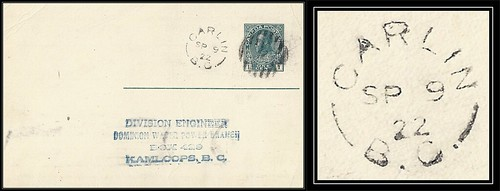 British Columbia / B.C. Postal History - 9 September 1922 - CARLIN, B.C. ( split ring / broken circle cancel / postmark) to Kamloops, Britiah Columbia