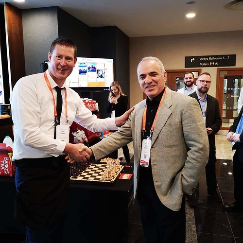 Meeting the Leqend Garry Kasparov the Russian Chess Grand Master at Imagine by Automation Anywhere. Inter Continental Hotel 02 London 19-21st March 2019  With Mr Hobbs Coffee providing 3 Pop up Espresso Bars in the 5 Star Hotel and Conference Centre, with