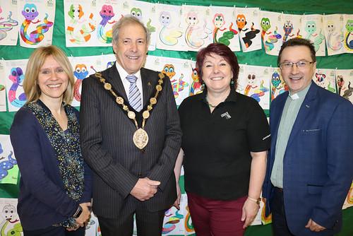 Lord Mayor of Lisburn and Castlereagh, Councillor Uel Mackin, and the Ven Paul Dundas, rector of Christ Church, Lisburn with event organisers Jill Hamilton, left, and Karen Webb.