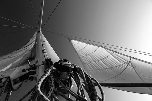 fine art black & white view of our rigging, near the Ponte 25 de Abril as we sailed around Lisbon, Portugal