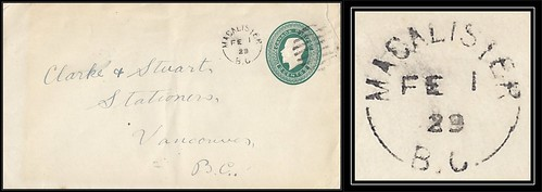 British Columbia / B.C. Postal History - 1 February 1929 - MacALISTER, B.C. (split ring / broken circle cancel / postmark) to Vancouver, B.C.