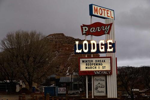 Parry Lodge sign, Kanab, Utah