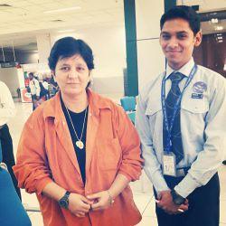 Ranvir Singh Rajput with Falguni Pathak at Ahmedabad Airport