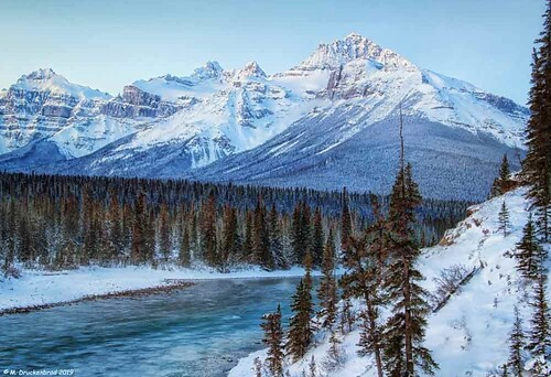 The North Saskatchewan River and Mount Sarbach, Saskatchewan River Crossing, Alberta