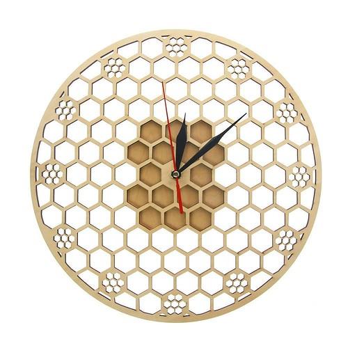 Hexagon Wooden Wall Clock Honeycomb Sacred Geometry Comb Modern Mandala Clock Watch Bee Lover Keeper Room Deco Gift Silent Sweep