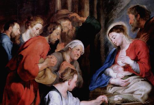 IMG_4204C Pierre Paul Rubens.  1577 1640. Anvers.  Adoration des Bergers.  Adoration of the Shepherds. Rouen. Musée des Beaux Arts  Détail