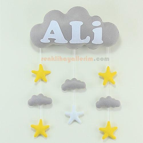 Ali isimli gri beyaz bulut bebek odası kapı süsü