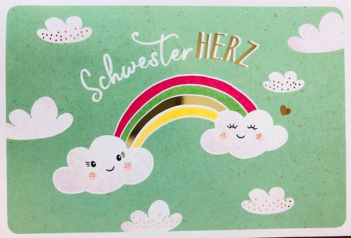 Special swap. O Happy Day or rainbow (Schwesterherz) with rainbow stamp and Himmelsereignisse first day cancellation.