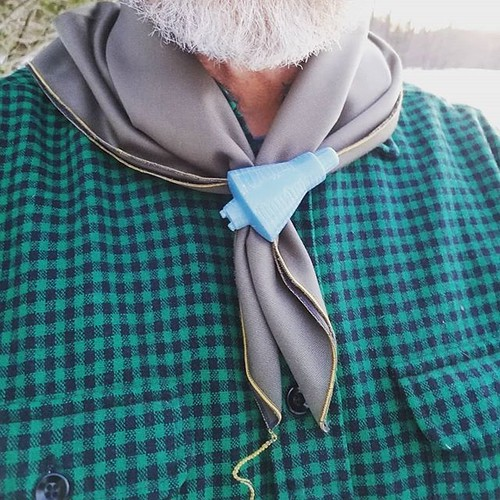 Feeling pretty dapper in my @camp.and.go.slow gabardine neckerchief. (slide is from mine own collection)