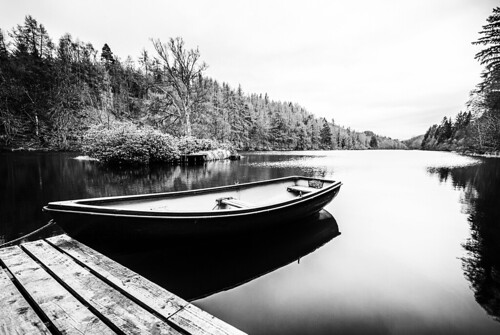 Loch Park is tranquil on a chill April day. Fine art black & white. Drummuir, Near Dufftown, Moray, Scotland